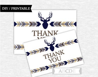 Instant Download Tan brown Navy Woodland Deer Party Thank You cards Thank You notes Birthday party Baby shower (PDWSI031)