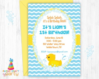 Rubber Ducky Invitation - Printable Rubber Duck Birthday Invite - Instantly Download and Edit at Home with Adobe Reader