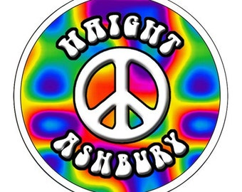 HIPPIE STICKER Haight Ashbury PEACE Symbol Clear Vinyl Sticker Excellent Qualty 4.5 inch Sticker
