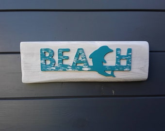 Dolphin decor seaside BEACH sign