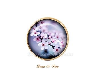 Sakura Nature bronze flower cabochon ring purple cherry Japan