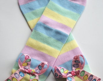 boutique HAPPY EASTER striped leg warmers with attached bows