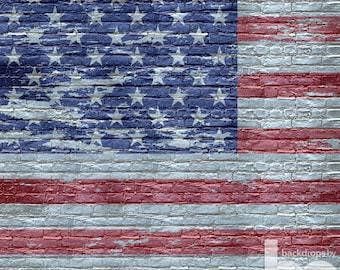 American Flag on White Brick 4th of July Backdrop (HD4-VS-003)