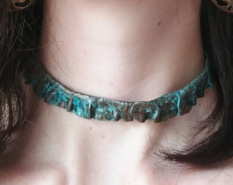 Hand made / hand hammered copper choker necklace with blue aqua patina