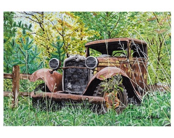 Old Rusty Hideout - Old Rusty Ford Truck, Art Print, Watercolor Painting, Ford wall art