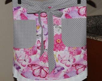"NEW!! ""Dancing Butterflys Floral"" Half Apron and Hot Pad Set  - One of a Kind!"