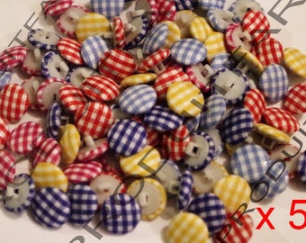 50 buttons gingham color various acrylic 14 MM fabric covered