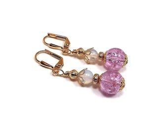 Light Purple Earrings, Pastel Purple, Gold Plated, Drop Earrings, Glass Beaded, Spring Jewelry, Clip on Earrings Lever Back Hook Ear Wire