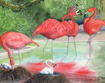 Flamingos, 5 blank note cards with envelopes