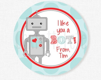 Valentine's Day Robot Tags, I like you a BOT Tag, Robot Valentine Tags, Red and Aqua, Class Treats Tag, Personalized