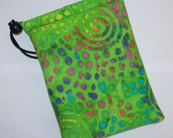 "Pipe Pouch, Trippy Green Bag, Pipe Case, Glass Pipe Bag, Pipe Cozy, Padded Pouch, 420, Hippie Gift, Stoner, Smoke Accessory - 7"" DRAWSTRING"