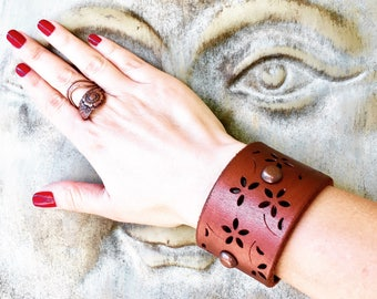 Metallic, Copper, Riveted, Floral, Leather Cuff, Handmade, Boho Cuff, Gifts for Her