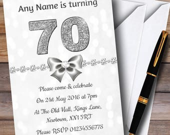 White Bokeh & Silver Glitter Look 70Th Personalised Birthday Party Invitations