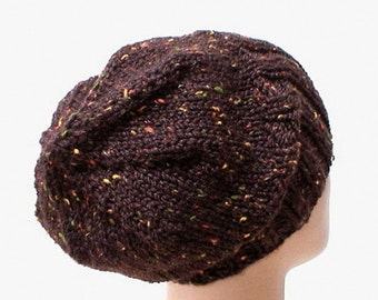 Dark brown tweed watch cap, slouchy hat, brimmed hat, mens womens brown hat, knit hat, toque, brown hat, beanie hat, mens womens knit hat