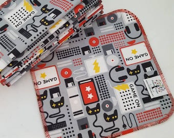 ECO CLOTH WIPES / Set of 12 / Retro Gamer Cotton Cloth Wipes