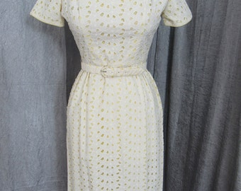Early 1960s White Cotton Eyelet Wiggle Dress with Yellow Lining & Matching Belt