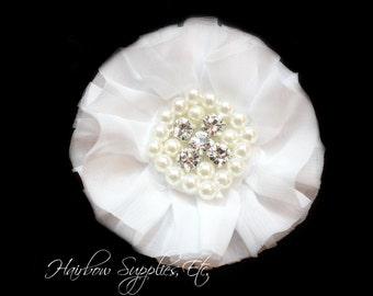 White Chiffon Pearl Flowers 3-1/2 inch - White Chiffon Trim, White Chiffon Flower, Pearl Embellishment, White Flowers, White Fabric Flowers