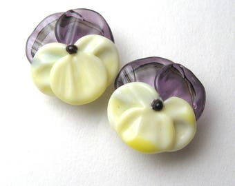 Purple Yellow Pansy, Glass Flower Beads, handmade jewelry supplies by Serena Smith Lampwork, viola, spring flowers