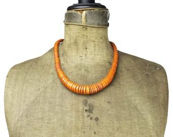 Wood Bead Necklace, Orange Wood Necklace, Orange Bead Necklace, Orange Wood Bead Necklace