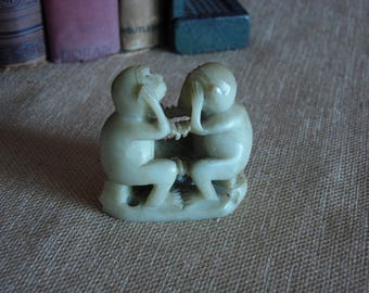 Green Soapstone Carving See and Hear No Evel Monkeys