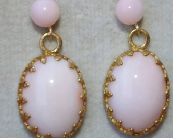 Antique Gorgeous 14K & GF Italy Angel Skin Blush Coral  Filigree Stud Earrings