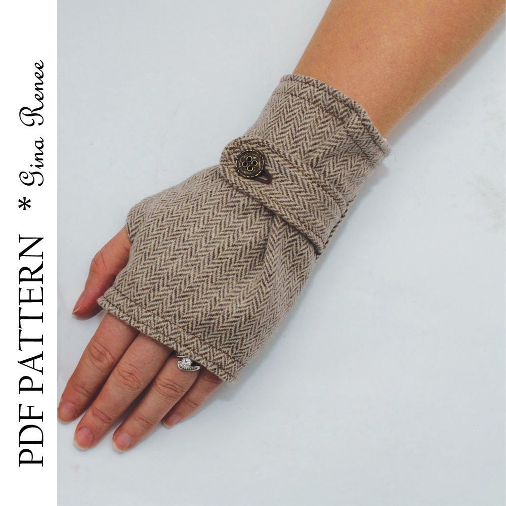 Fingerless glove pattern with strap pdf glove sewing pattern this is a digital file jeuxipadfo Image collections
