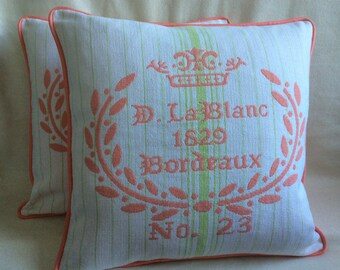 Large Scale Boudoir Pillow Covers - Set of 2 - White/ Peach/ Lime Green - Custom Piping - 24x24 Covers