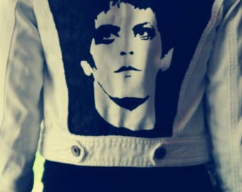 Short white jacket LOU REED hand painted, black and white, brand appointment spirit size XS 8 - 9 years, 128-134, denim, vintage retro style