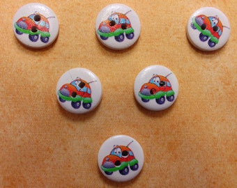 SET of 6 wood buttons: Circle pattern 15mm (01) car transportation theme