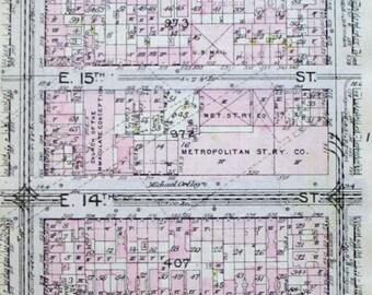 1912 Alphabet City East Village Stuyvesant Town Manhattan E 12th to E 17th Street, Avenue B, A & 1st Ave. Original Antique Map New York City