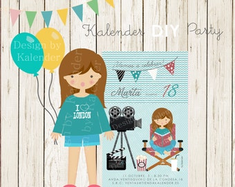 Personalized Birthday Party. Teenager Cinema invitation-1. DIY Printable.