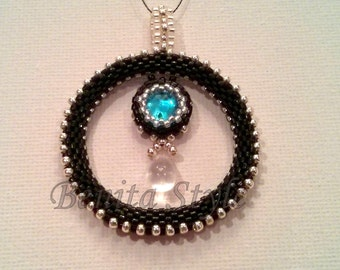 Beadwork Necklace, Beaded Necklace, Beadweaving Pendant Necklace, Peyote Necklace LITLLE UNIVERSE- blue - silver - black