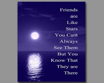 Gift for Friend - Friends are Like Stars Art Print - Birthday Gift - Moving Away Gift - Thank You for Being a Friend - Wall Decor