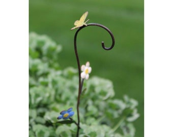 "Bloomin' Flowers Shepherd's Hook 8"" Metal Handpainted for the Fairy Garden"