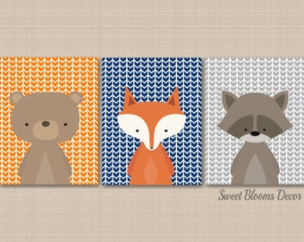 Woodland Nursery Wall Art Woodland Nursery Decor Bear Fox Raccoon Wall Art Woodland Arrows Navy Orange Gray Woodland Baby Gift-UNFRAMED C227