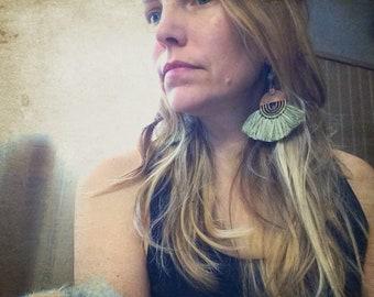 Purple and green tassel earrings, fringe earrings, Boho earrings, Gypsy jewelry, Fan fringe earrings, Copper pendant, Rustic earrings