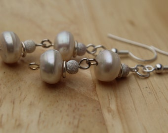 Freshwater Pearl Earrings, Drop, Stardust, 925 Sterling Silver, Bridal, Bridesmaids, Gift, Mother,