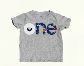 o n e //Monster Theme//First Birthday//Gender Neutral//Fabric Iron On Applique Letters//Other Numbers Available