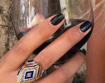 Diamond bead ring , Beaded ring , Diamond shape bead ring ,  Peyote Ring , Beaded purple Ring , colorful beads ring, Seed bead ring