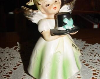 Vintage March Birthday Angel Girl St. Patrick's Day - Halo & Holding Black Leprechaun's Hat Figurine Japan Nippon