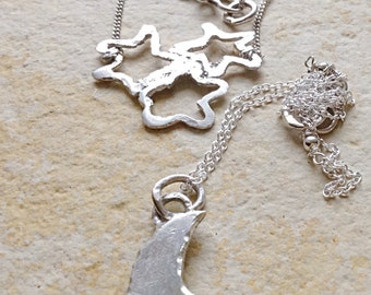 Sterling Silver Moon & Stars Layered Necklaces Set