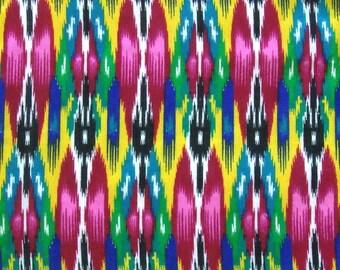 ikat print fabric pink ikat fabric silk ikat fabric colorful ikat fabric indian fabric fabric by the yard  - 1 yard - msc129