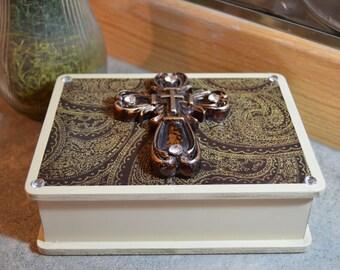 308 Prayer Box, Cross Box, Box with Cross, Christian Box, Decorative Box with Cross, Embellished Box, Decoupage Box, Small Keepsake Box!