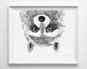Raccoon Print - Baby Nursery Art - Watercolor Painting - Raccoon Art - Kids Wall Art - Woodland Nursery - Raccoon Art - Woodland Animal
