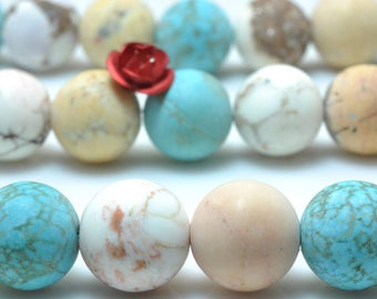 37 pcs of Mixed color Turquoise matte round beads in 10 mm(06770#)