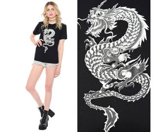Vintage 90s Asian DRAGON T-Shirt Club-Kid Cyber Goth Rave Grunge Soft Thin Top S M *Free Shipping U.S.* vtg