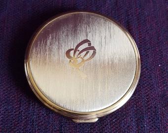 Vintage MASCOT Powder Compact, Empty, Unused, Goldtone