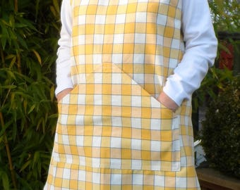 Cross Back Apron in Up-cycled Check Fabric