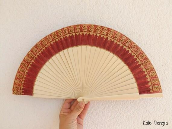 Gold Embroidery Look Algerian Style Hand Fan