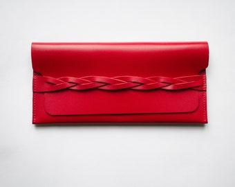 Women Red Leather Wallet - Women clutch wallet - Credit card wallet - Genuine Leather Wallet